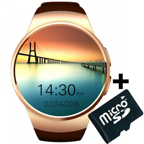 Ceas Smartwatch cu Telefon iUni KW18, Touchscreen 1.3 Inch, Notificari, iOS, Android, Gold + Card Mi